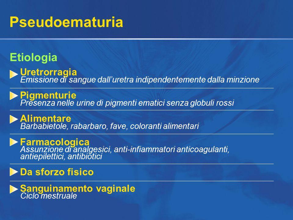 Pseudoematuria Etiologia Uretrorragia Emissione di sangue dall'uretra indipendentemente dalla minzione Pigmenturie Presenza nelle urine di pigmenti ematici senza globuli rossi Alimentare Barbabietole, rabarbaro, fave, coloranti alimentari Farmacologica Assunzione di analgesici, anti-infiammatori anticoagulanti, antiepilettici, antibiotici Da sforzo fisico Sanguinamento vaginale Ciclo mestruale