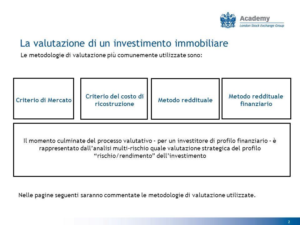 2 Le metodologie di valutazione più comunemente utilizzate sono: Criterio di Mercato Criterio del costo di ricostruzione Metodo reddituale finanziario