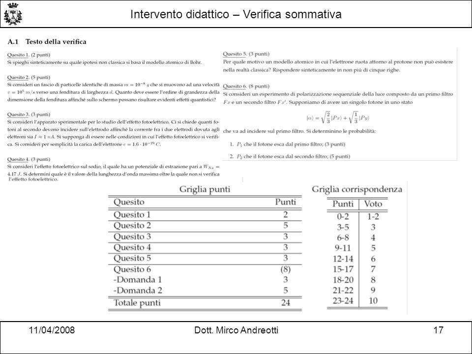 11/04/2008Dott. Mirco Andreotti17 Intervento didattico – Verifica sommativa