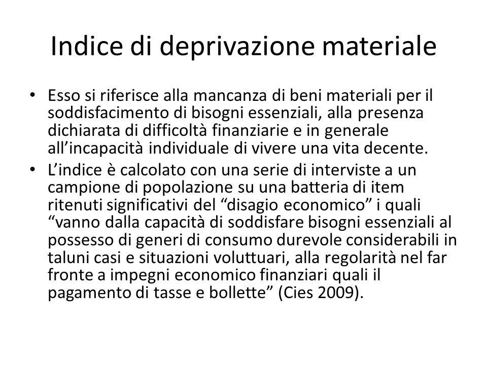 Indice di deprivazione materiale Esso si riferisce alla mancanza di beni materiali per il soddisfacimento di bisogni essenziali, alla presenza dichiar
