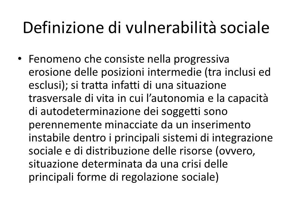 Definizione di vulnerabilità sociale Fenomeno che consiste nella progressiva erosione delle posizioni intermedie (tra inclusi ed esclusi); si tratta i