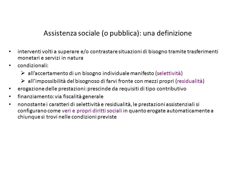 Assistenza sociale (o pubblica): una definizione interventi volti a superare e/o contrastare situazioni di bisogno tramite trasferimenti monetari e se