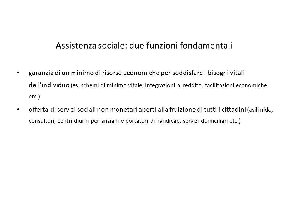 Assistenza sociale: due funzioni fondamentali garanzia di un minimo di risorse economiche per soddisfare i bisogni vitali dell'individuo (es. schemi d
