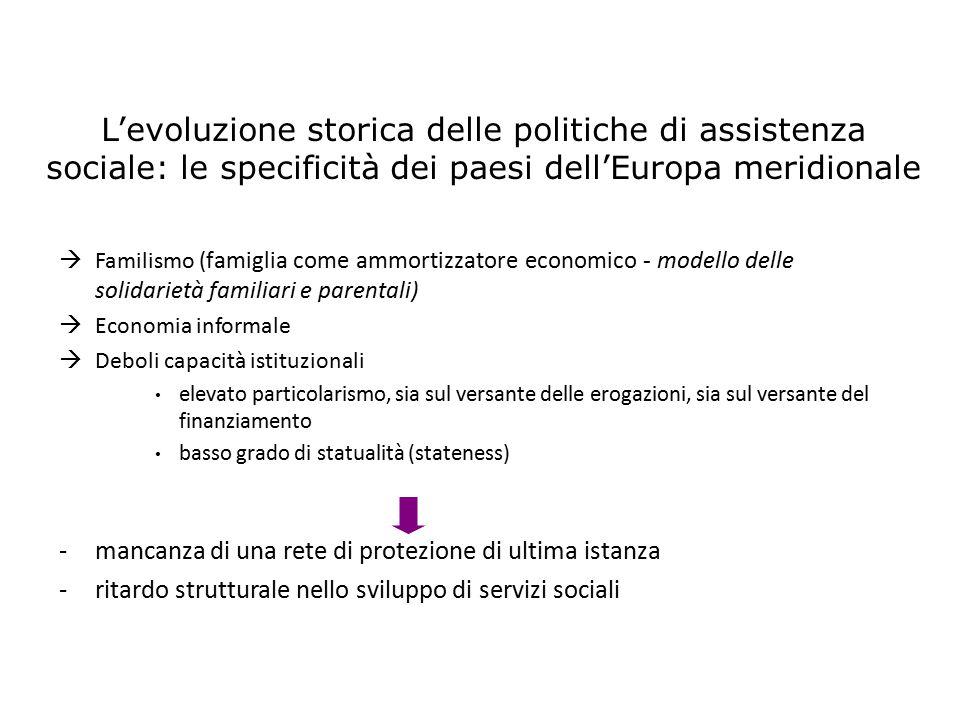  Familismo ( famiglia come ammortizzatore economico - modello delle solidarietà familiari e parentali)  Economia informale  Deboli capacità istituz