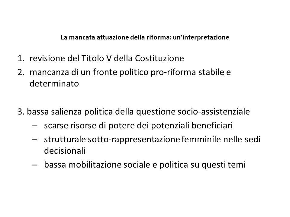 La mancata attuazione della riforma: un'interpretazione 1.revisione del Titolo V della Costituzione 2.mancanza di un fronte politico pro-riforma stabi