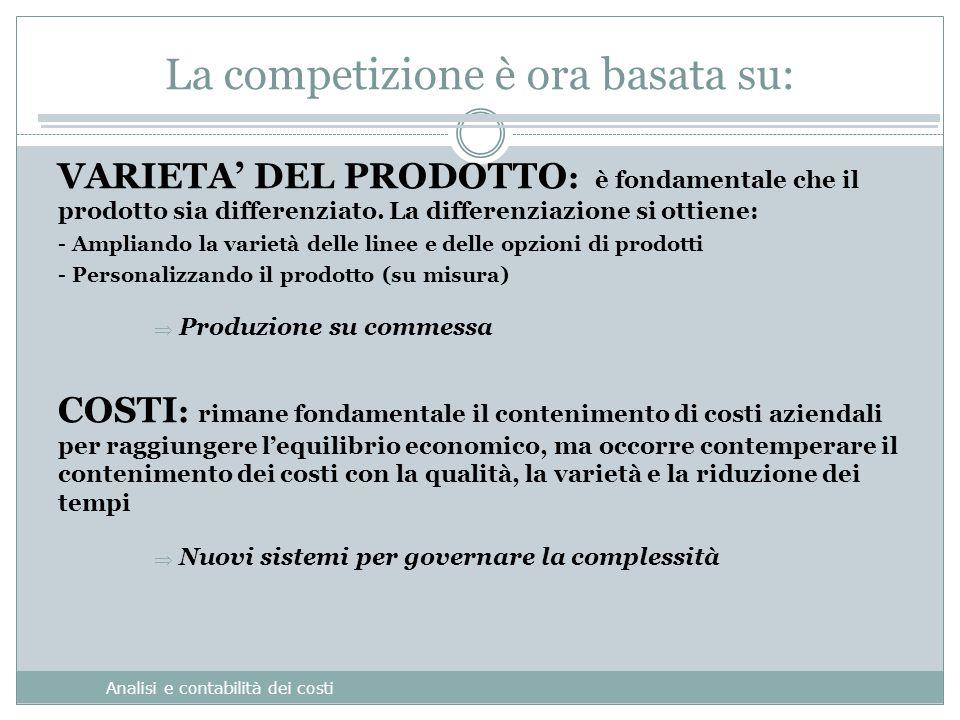 La competizione è ora basata su: Analisi e contabilità dei costi VARIETA' DEL PRODOTTO : è fondamentale che il prodotto sia differenziato.