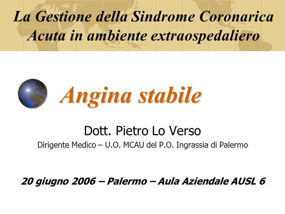 Angina stabile Dott. Pietro Lo Verso Dirigente Medico – U.O. MCAU del P.O. Ingrassia di Palermo 20 giugno 2006 – Palermo – Aula Aziendale AUSL 6 La Ge