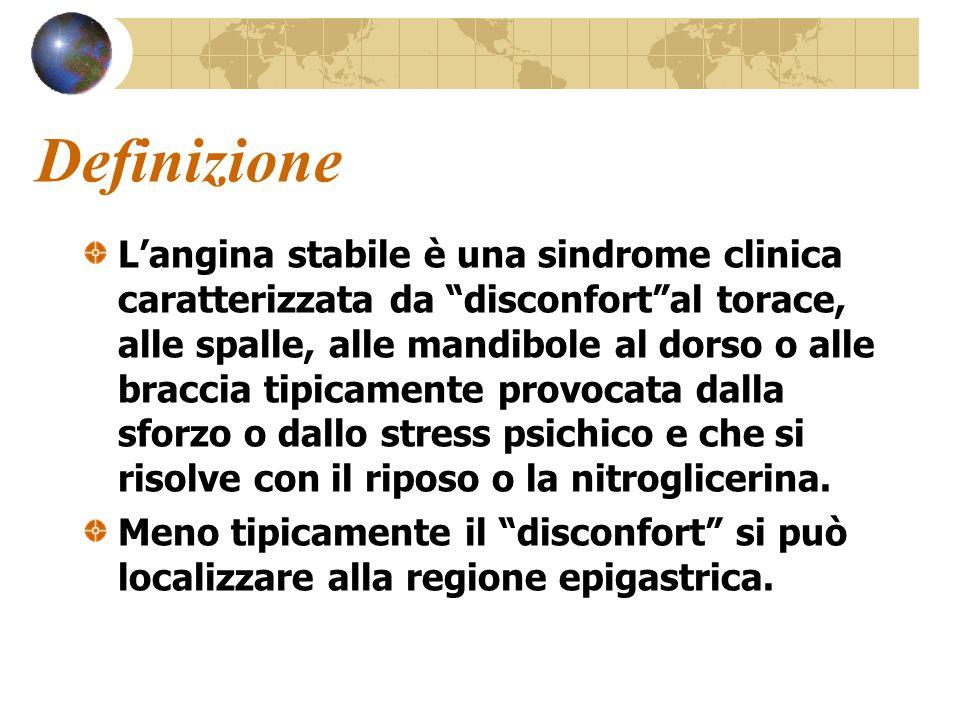 """Definizione L'angina stabile è una sindrome clinica caratterizzata da """"disconfort""""al torace, alle spalle, alle mandibole al dorso o alle braccia tipic"""