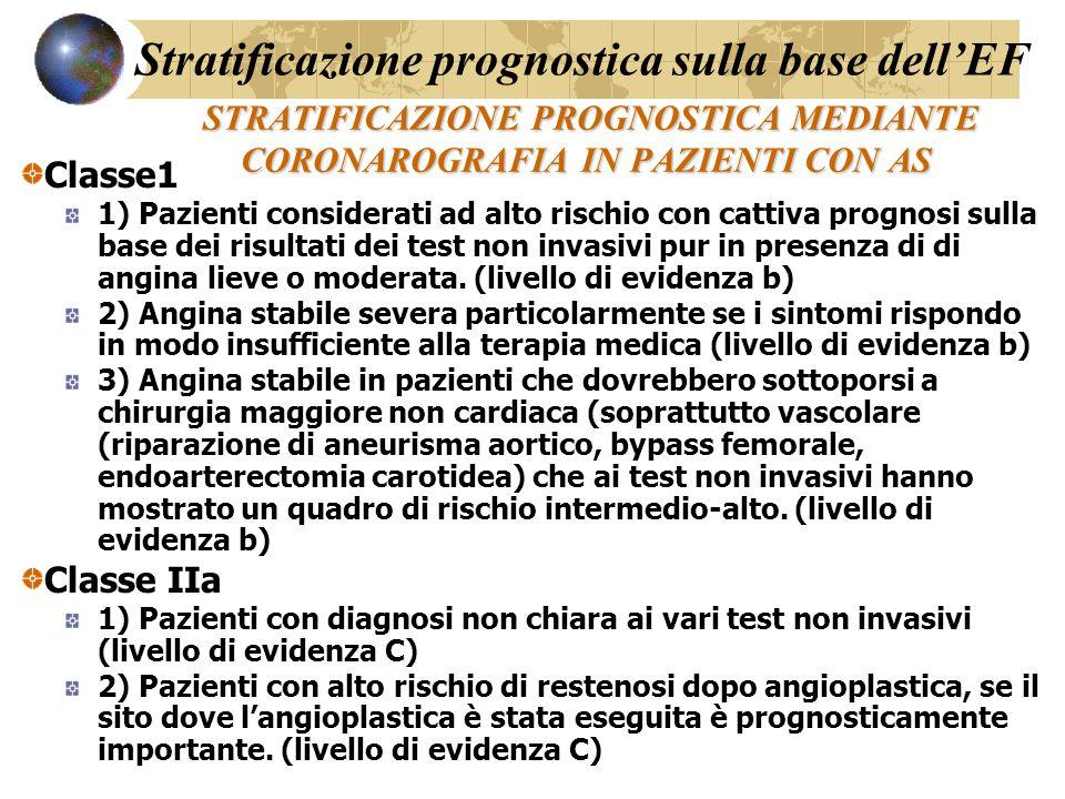 STRATIFICAZIONE PROGNOSTICA MEDIANTE CORONAROGRAFIA IN PAZIENTI CON AS STRATIFICAZIONE PROGNOSTICA MEDIANTE CORONAROGRAFIA IN PAZIENTI CON AS Classe1 1) Pazienti considerati ad alto rischio con cattiva prognosi sulla base dei risultati dei test non invasivi pur in presenza di di angina lieve o moderata.