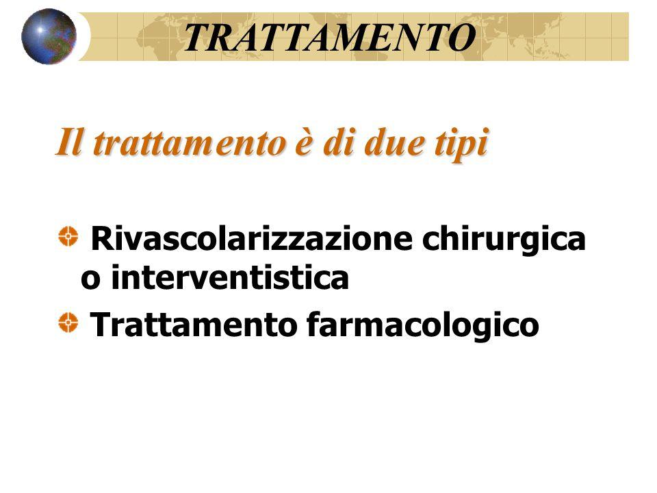 Il trattamento è di due tipi Rivascolarizzazione chirurgica o interventistica Trattamento farmacologico TRATTAMENTO