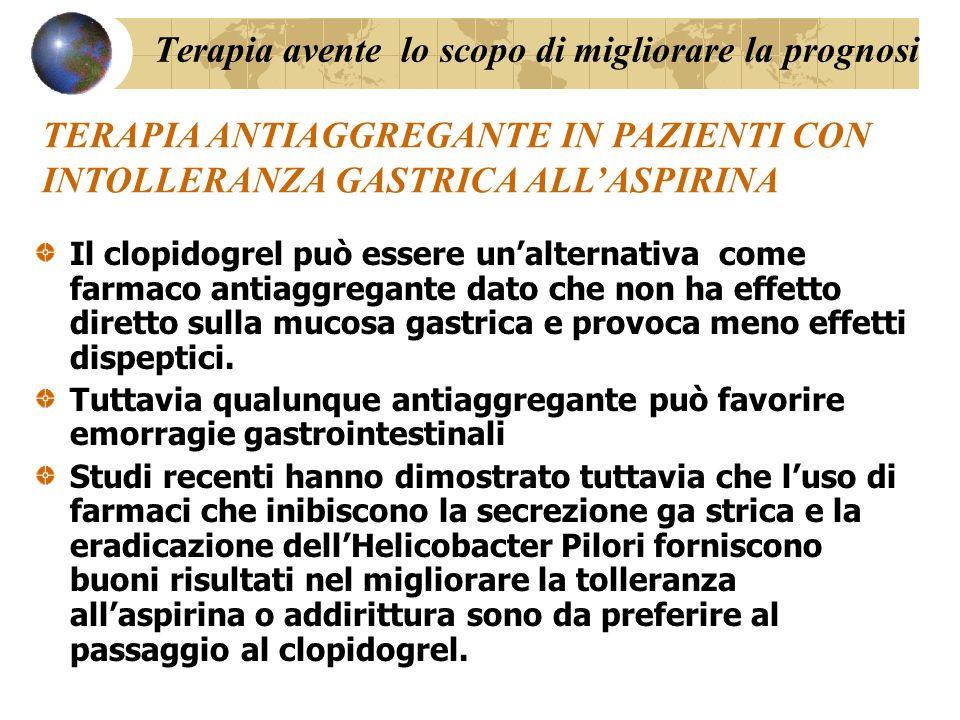 Il clopidogrel può essere un'alternativa come farmaco antiaggregante dato che non ha effetto diretto sulla mucosa gastrica e provoca meno effetti disp