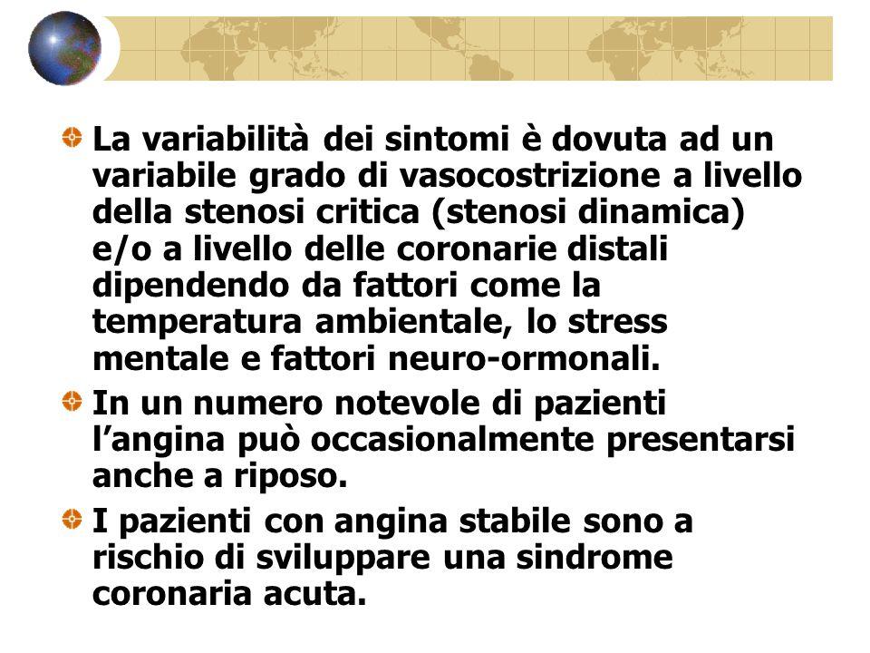 La variabilità dei sintomi è dovuta ad un variabile grado di vasocostrizione a livello della stenosi critica (stenosi dinamica) e/o a livello delle co