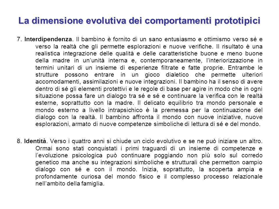 La dimensione evolutiva dei comportamenti prototipici 7. Interdipendenza. Il bambino è fornito di un sano entusiasmo e ottimismo verso sé e verso la r