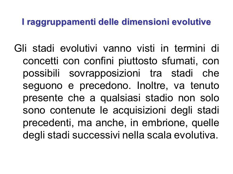 I raggruppamenti delle dimensioni evolutive Gli stadi evolutivi vanno visti in termini di concetti con confini piuttosto sfumati, con possibili sovrap