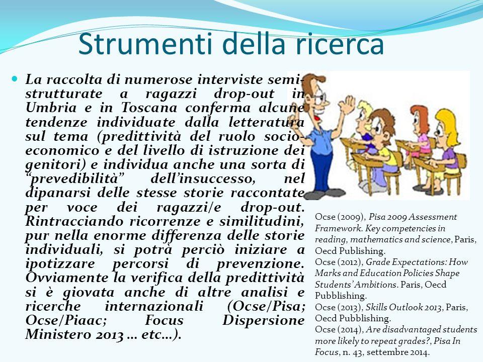 Strumenti della ricerca La raccolta di numerose interviste semi- strutturate a ragazzi drop-out in Umbria e in Toscana conferma alcune tendenze indivi