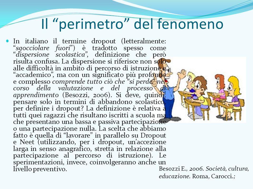 Il perimetro del fenomeno In italiano il termine dropout (letteralmente: sgocciolare fuori ) è tradotto spesso come dispersione scolastica , definizione che però risulta confusa.