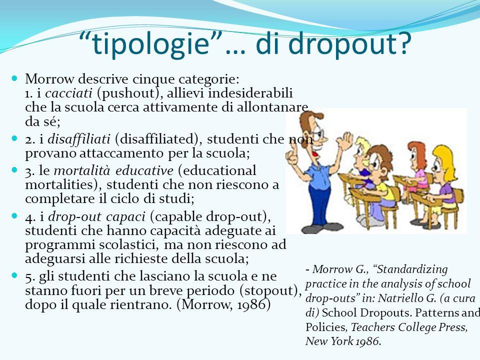 """""""tipologie""""… di dropout? Morrow descrive cinque categorie: 1. i cacciati (pushout), allievi indesiderabili che la scuola cerca attivamente di allontan"""