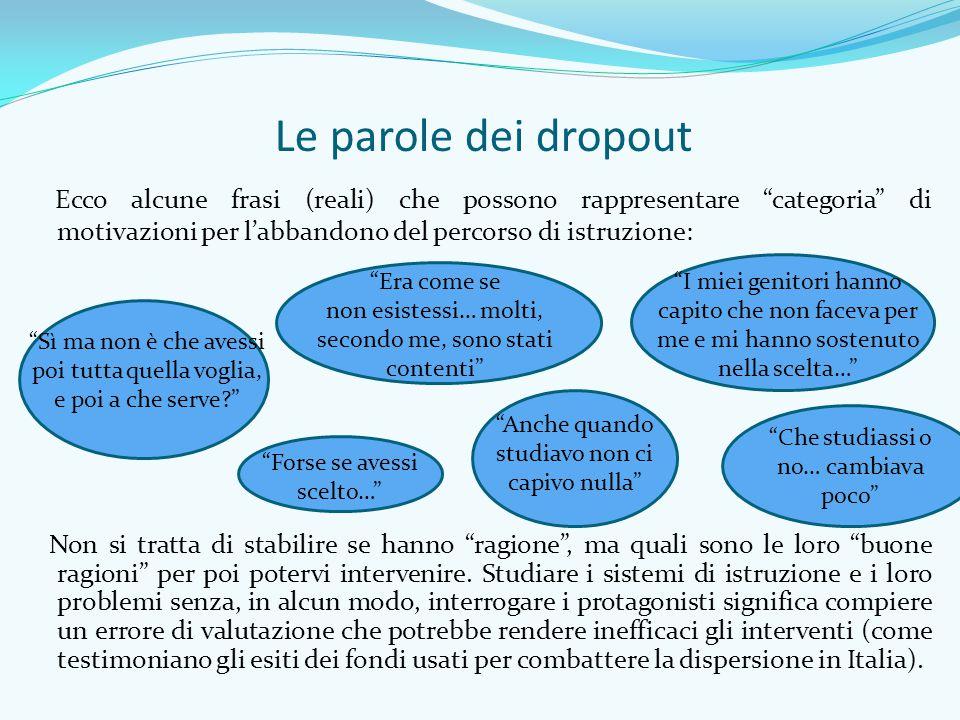 """Le parole dei dropout Ecco alcune frasi (reali) che possono rappresentare """"categoria"""" di motivazioni per l'abbandono del percorso di istruzione: """"Sì m"""