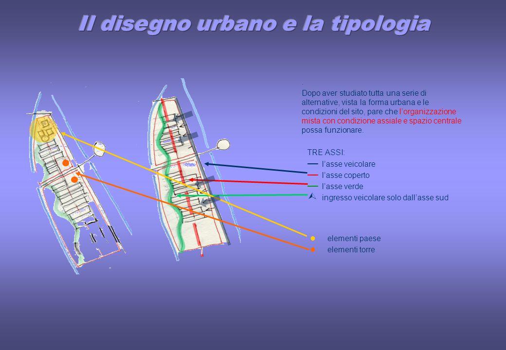 Dopo aver studiato tutta una serie di alternative, vista la forma urbana e le condizioni del sito, pare che l'organizzazione mista con condizione assiale e spazio centrale possa funzionare.