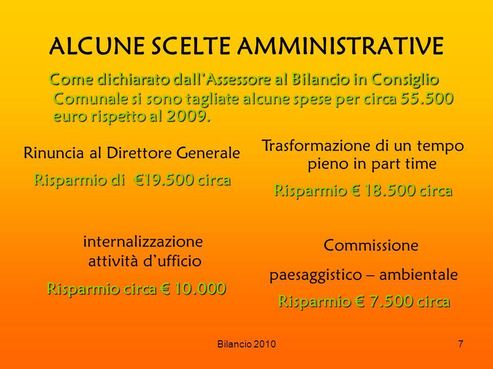 Bilancio 20108 CONTRIBUTI E TRASFERIMENTI CORRENTI COMPOSIZIONE