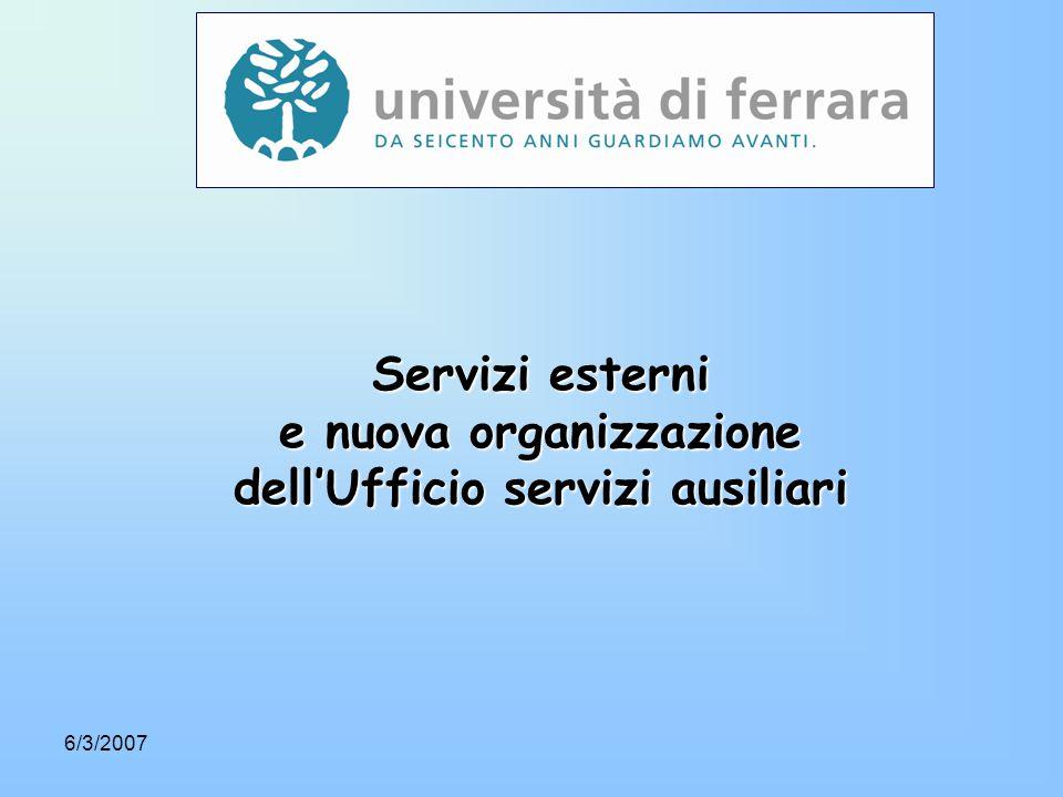 6/3/2007 Servizi esterni e nuova organizzazione dell'Ufficio servizi ausiliari
