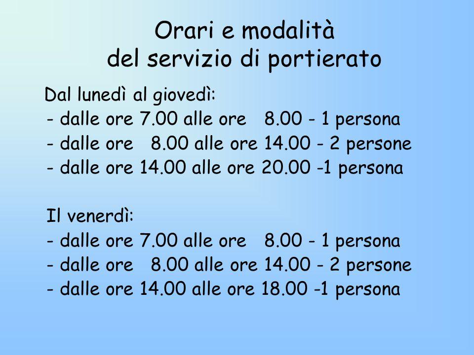 Orari e modalità del servizio di portierato Dal lunedì al giovedì: - dalle ore 7.00 alle ore 8.00 - 1 persona - dalle ore 8.00 alle ore 14.00 - 2 persone - dalle ore 14.00 alle ore 20.00 -1 persona Il venerdì: - dalle ore 7.00 alle ore 8.00 - 1 persona - dalle ore 8.00 alle ore 14.00 - 2 persone - dalle ore 14.00 alle ore 18.00 -1 persona