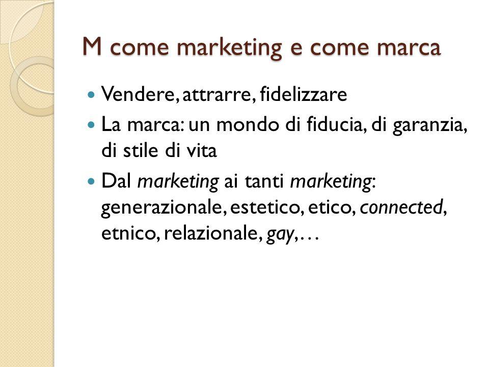 M come marketing e come marca Vendere, attrarre, fidelizzare La marca: un mondo di fiducia, di garanzia, di stile di vita Dal marketing ai tanti marke