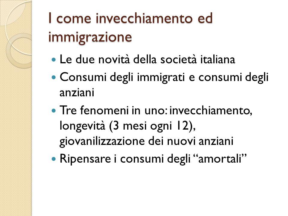 I come invecchiamento ed immigrazione Le due novità della società italiana Consumi degli immigrati e consumi degli anziani Tre fenomeni in uno: invecc