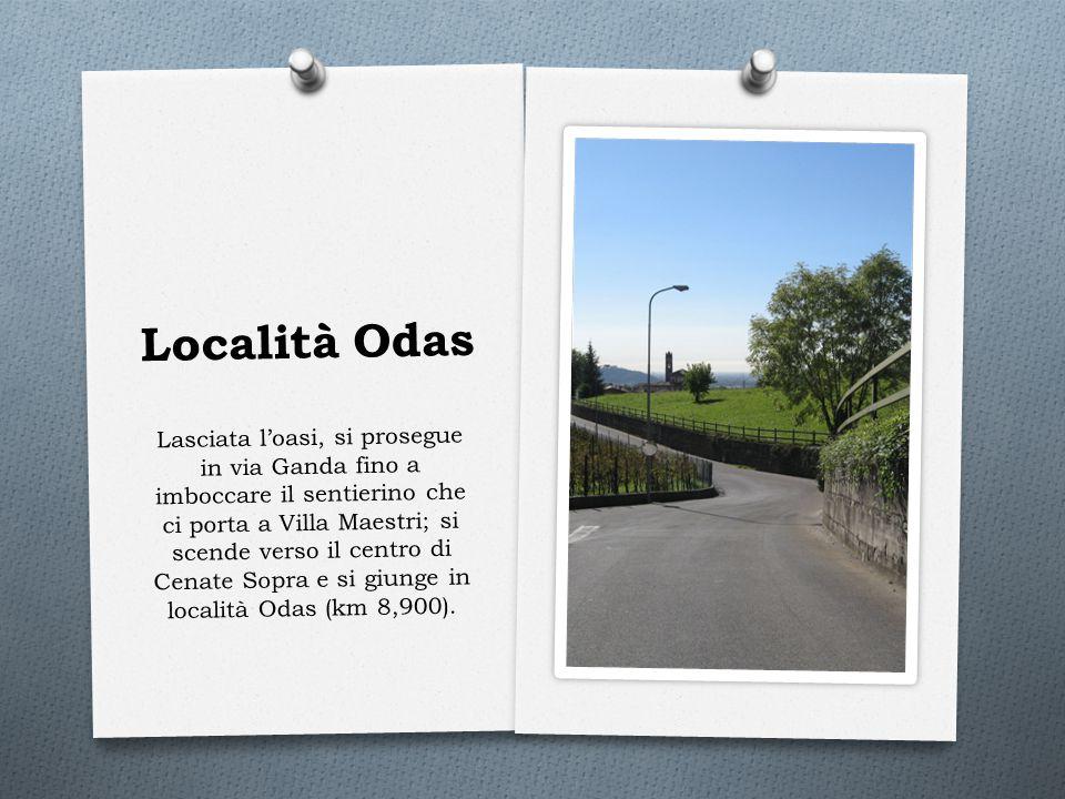 Località Odas Lasciata l'oasi, si prosegue in via Ganda fino a imboccare il sentierino che ci porta a Villa Maestri; si scende verso il centro di Cena