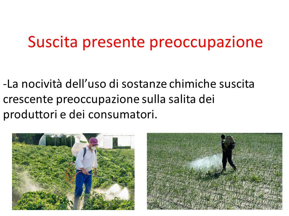 Suscita presente preoccupazione -La nocività dell'uso di sostanze chimiche suscita crescente preoccupazione sulla salita dei produttori e dei consumat