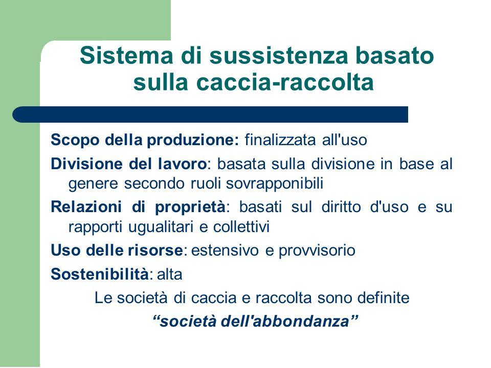Sistema di sussistenza basato sulla caccia-raccolta Scopo della produzione: finalizzata all'uso Divisione del lavoro: basata sulla divisione in base a