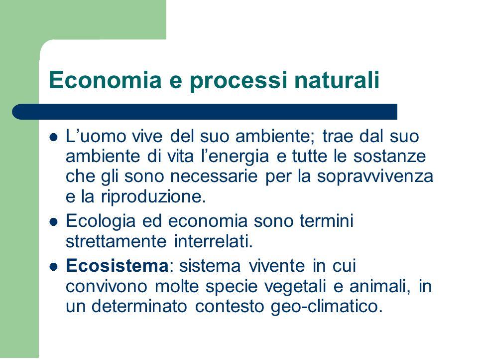 Economia e processi naturali L'uomo vive del suo ambiente; trae dal suo ambiente di vita l'energia e tutte le sostanze che gli sono necessarie per la sopravvivenza e la riproduzione.