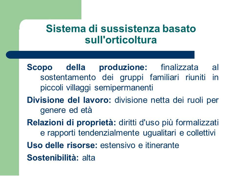 Sistema di sussistenza basato sull'orticoltura Scopo della produzione: finalizzata al sostentamento dei gruppi familiari riuniti in piccoli villaggi s