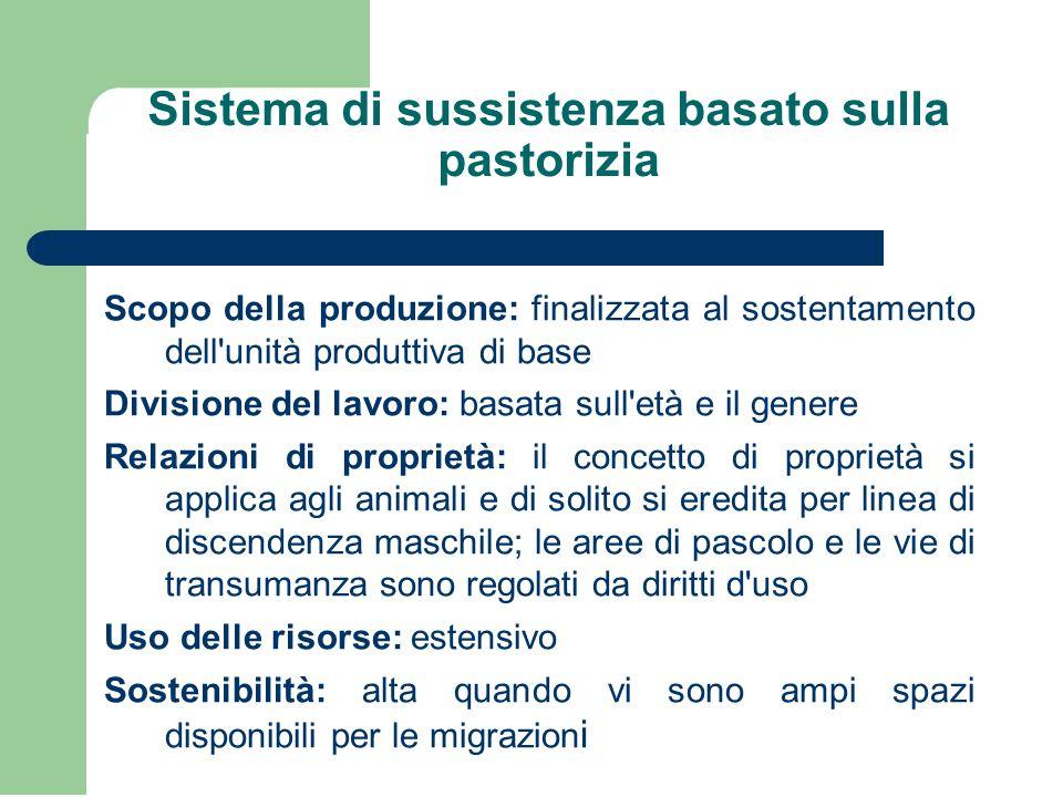 Sistema di sussistenza basato sulla pastorizia Scopo della produzione: finalizzata al sostentamento dell'unità produttiva di base Divisione del lavoro