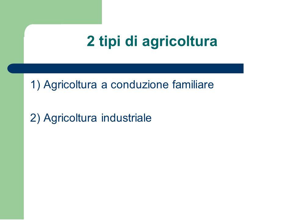 2 tipi di agricoltura 1) Agricoltura a conduzione familiare 2) Agricoltura industriale