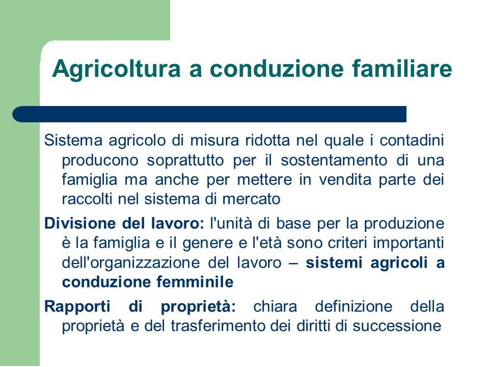Agricoltura a conduzione familiare Sistema agricolo di misura ridotta nel quale i contadini producono soprattutto per il sostentamento di una famiglia