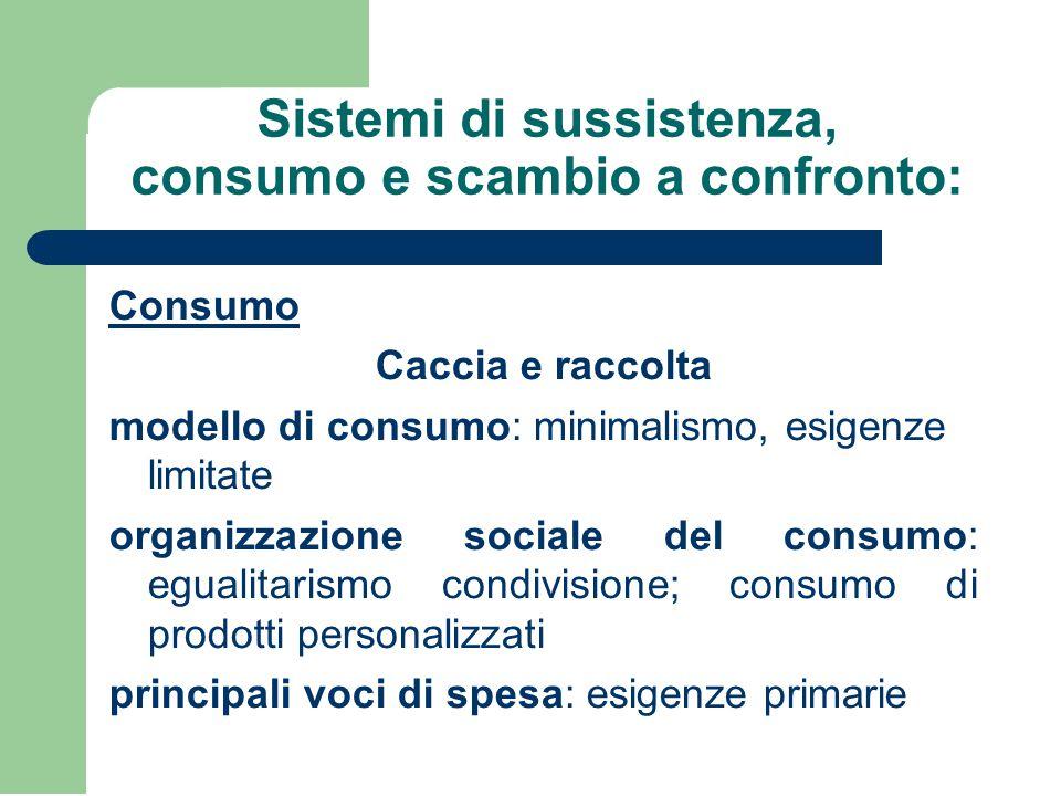 Sistemi di sussistenza, consumo e scambio a confronto: Consumo Caccia e raccolta modello di consumo: minimalismo, esigenze limitate organizzazione soc