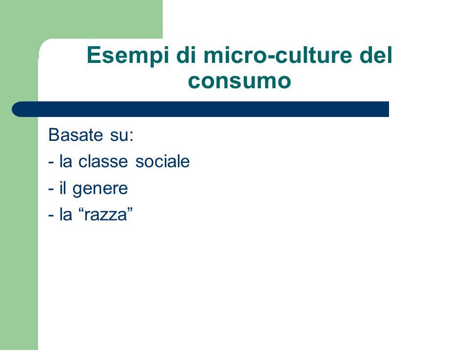 Esempi di micro-culture del consumo Basate su: - la classe sociale - il genere - la razza
