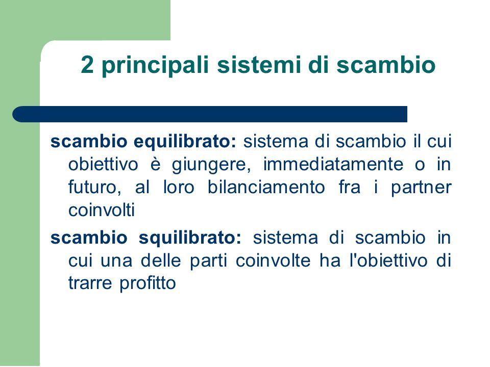 2 principali sistemi di scambio scambio equilibrato: sistema di scambio il cui obiettivo è giungere, immediatamente o in futuro, al loro bilanciamento