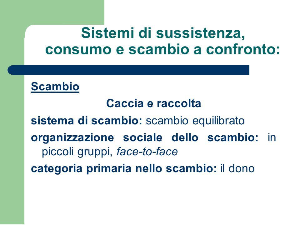 Sistemi di sussistenza, consumo e scambio a confronto: Scambio Caccia e raccolta sistema di scambio: scambio equilibrato organizzazione sociale dello