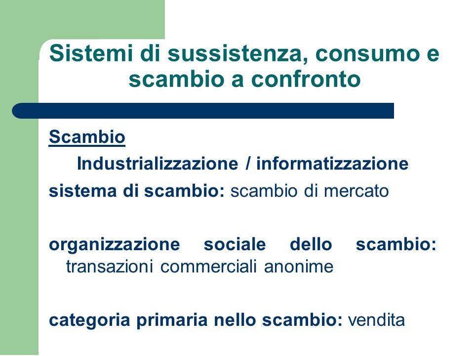 Sistemi di sussistenza, consumo e scambio a confronto Scambio Industrializzazione / informatizzazione sistema di scambio: scambio di mercato organizza