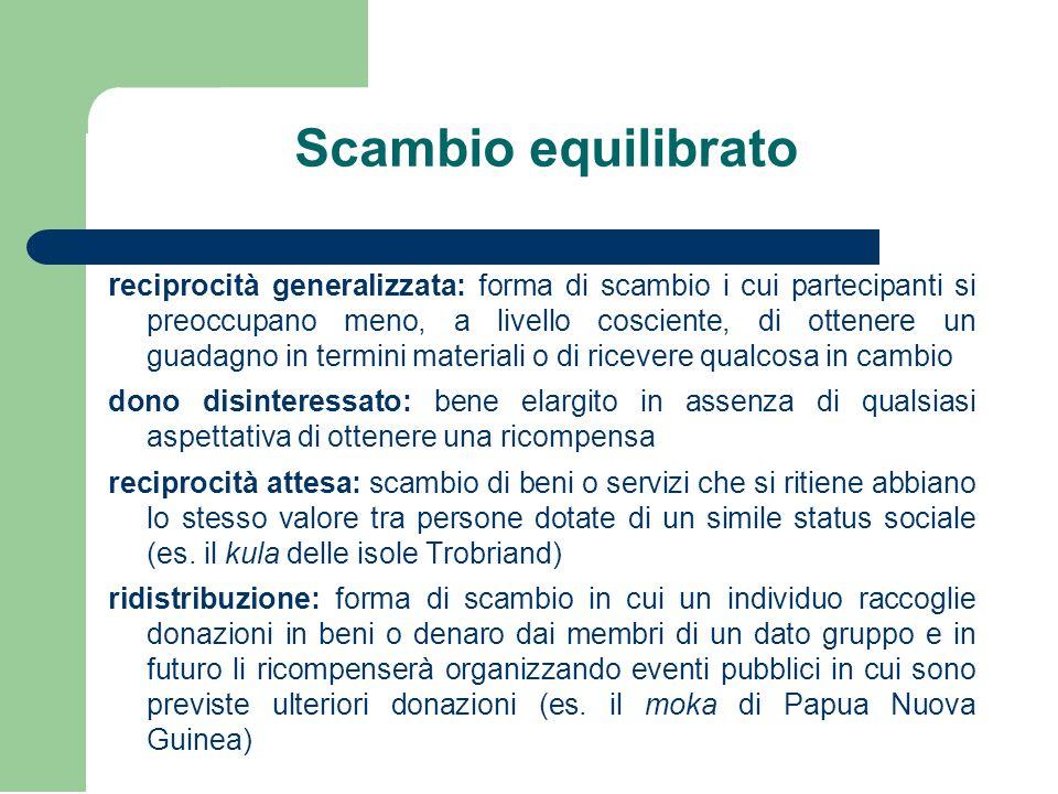 Scambio equilibrato r eciprocità generalizzata: forma di scambio i cui partecipanti si preoccupano meno, a livello cosciente, di ottenere un guadagno