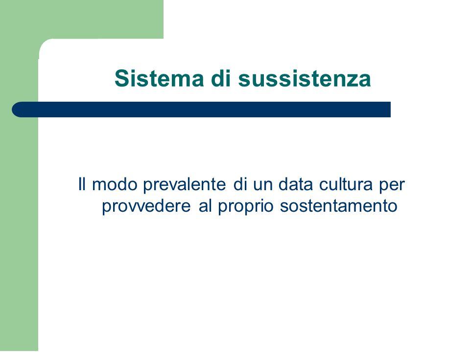 Sistema di sussistenza Il modo prevalente di un data cultura per provvedere al proprio sostentamento