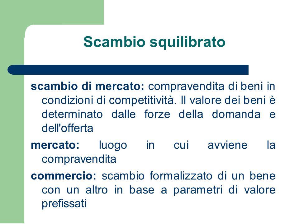 Scambio squilibrato scambio di mercato: compravendita di beni in condizioni di competitività. Il valore dei beni è determinato dalle forze della doman