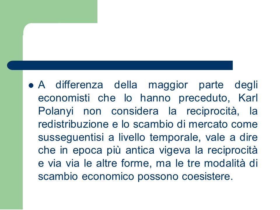 A differenza della maggior parte degli economisti che lo hanno preceduto, Karl Polanyi non considera la reciprocità, la redistribuzione e lo scambio d