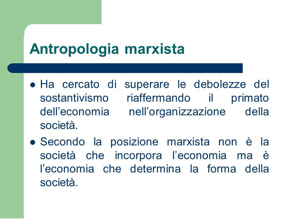 Antropologia marxista Ha cercato di superare le debolezze del sostantivismo riaffermando il primato dell'economia nell'organizzazione della società. S