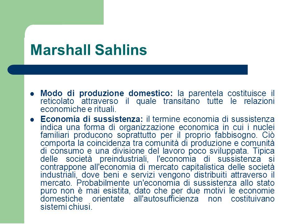 Marshall Sahlins Modo di produzione domestico: la parentela costituisce il reticolato attraverso il quale transitano tutte le relazioni economiche e rituali.