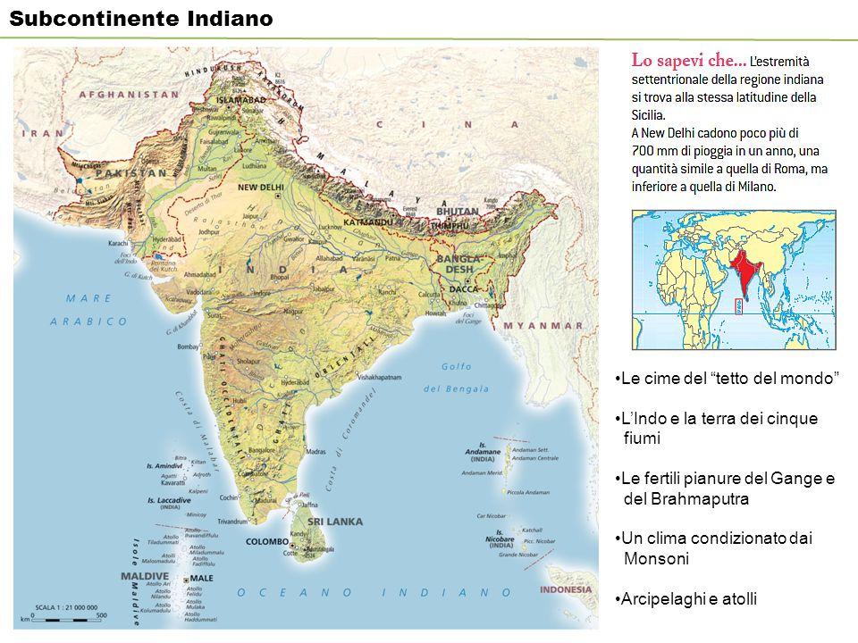 """Subcontinente Indiano Le cime del """"tetto del mondo"""" L'Indo e la terra dei cinque fiumi Le fertili pianure del Gange e del Brahmaputra Un clima condizi"""