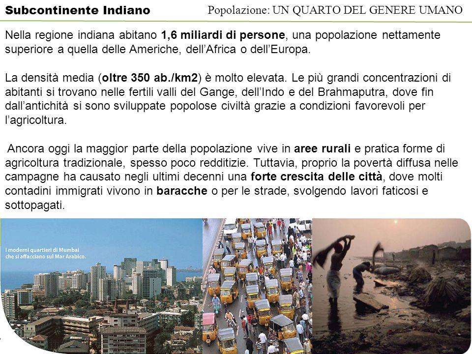 Subcontinente Indiano Popolazione: UN QUARTO DEL GENERE UMANO Nella regione indiana abitano 1,6 miliardi di persone, una popolazione nettamente superi