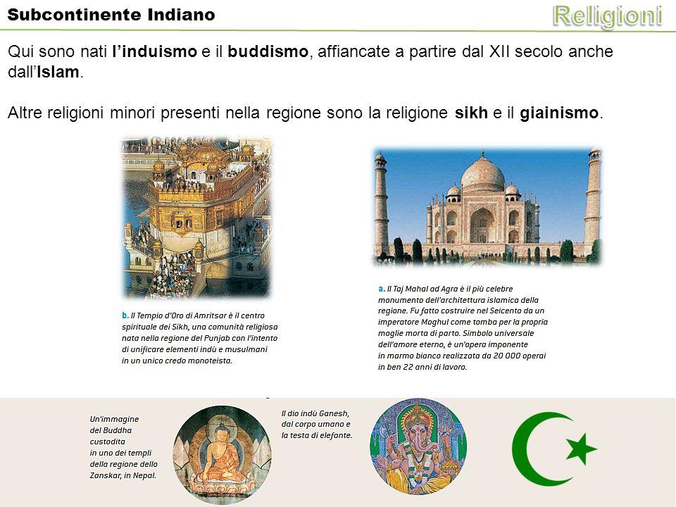 Subcontinente Indiano Qui sono nati l'induismo e il buddismo, affiancate a partire dal XII secolo anche dall'Islam. Altre religioni minori presenti ne